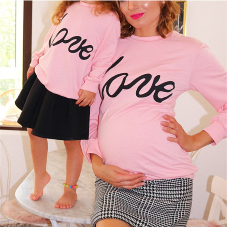 "Long Sleeve ""LOVE"" Printed Pink Mother & Daughter Matching Hoodie"