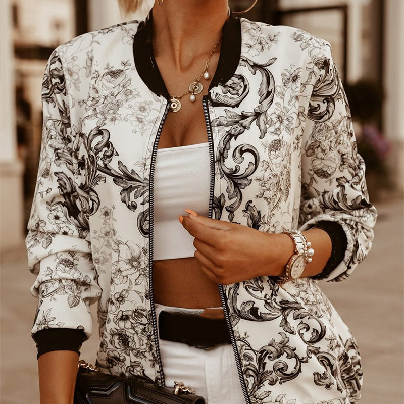 Vintage Skinny Printed Zipper Women's Black Jacket