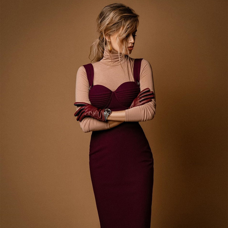 Spaghetti Strap Bandage Party Mini Wine Red Dress