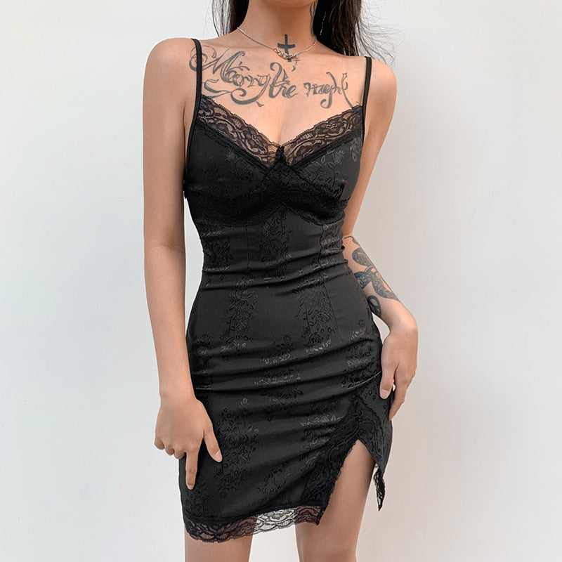 Bodycon Sleeveless Floral Lace Satin Split Mini Black Dress