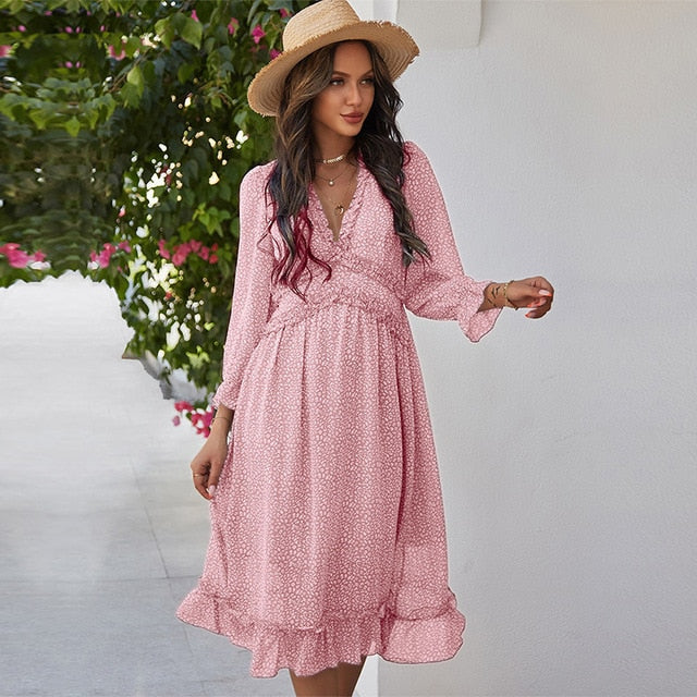 High Waist V-Neck Butterfly Sleeve Chiffon Pink Dress