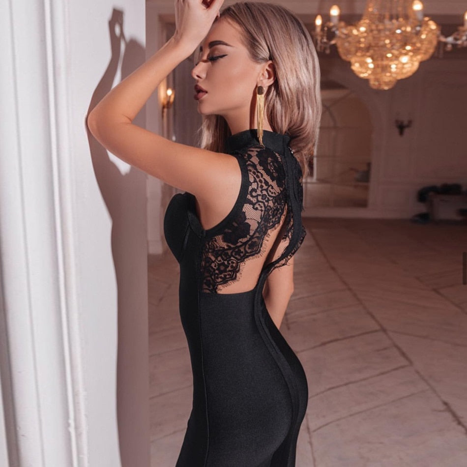 Hollow Out Backless Bandage Lace Midi Dress