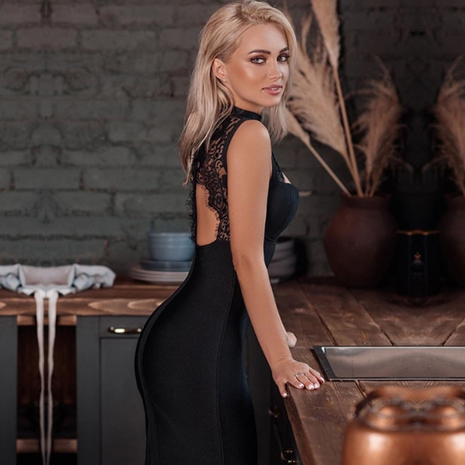 Hollow Out Backless Bandage Lace Midi Black Dress