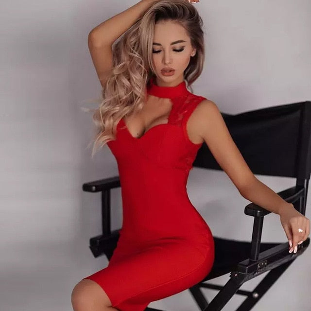 Hollow Out Backless Bandage Lace Midi Red Dress