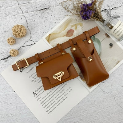 Belted Leather Women Waist Bag