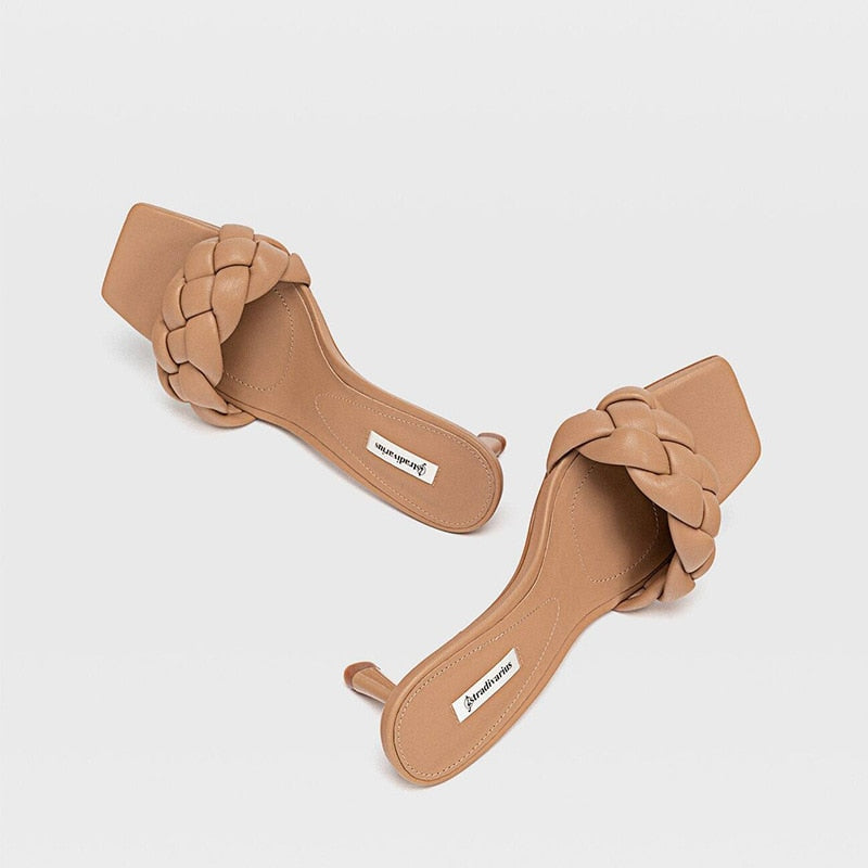 Square Toe High Heel Slide Women's Slippers