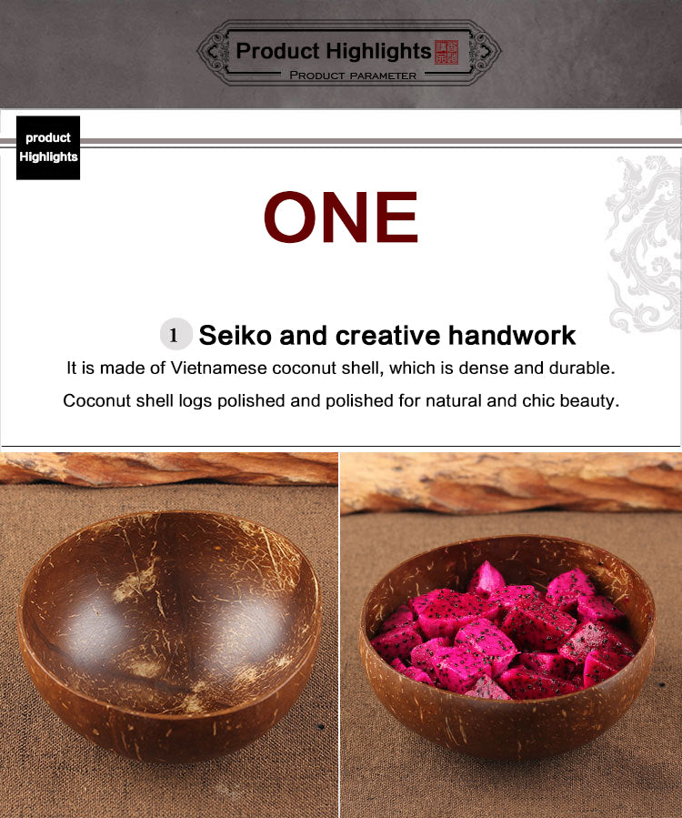 Creative Natural Coconut Bowl & Spoon Set