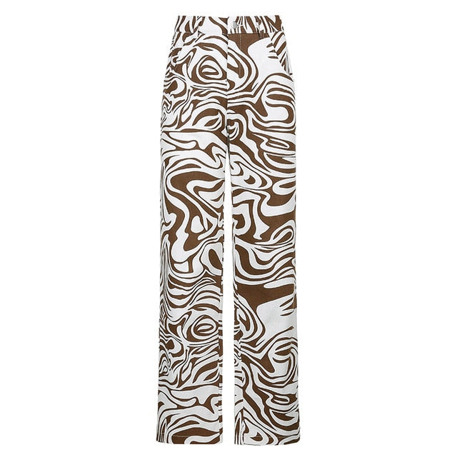 Vintage High Waist Zebra Print Straight Women's Capris Pants
