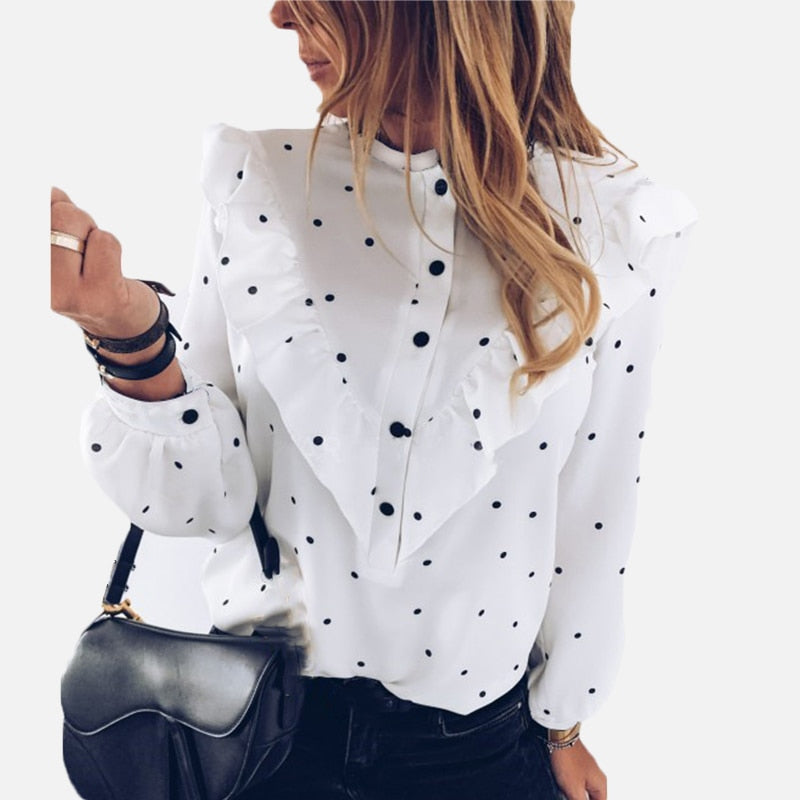 Elegant Ruffle Loose Polka Dot Women's White Blouse