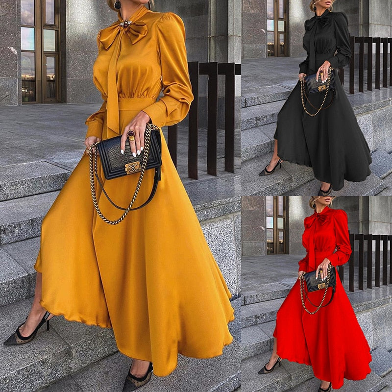 Plus Size Fit And Flare Long-Sleeved Bow Maxi Dress