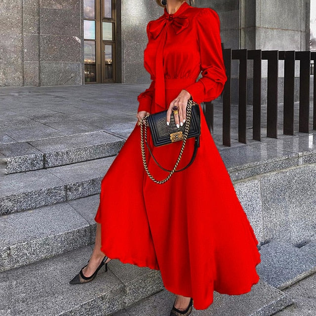 Plus Size Fit And Flare Long-Sleeved Bow Maxi Red Dress