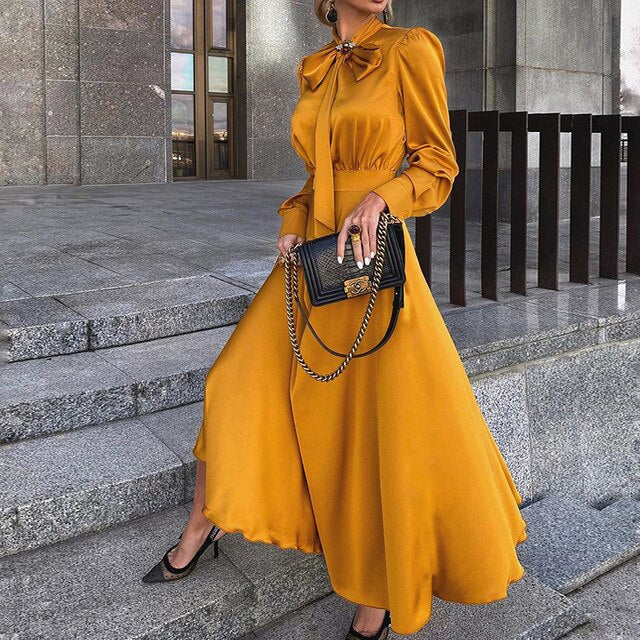 Plus Size Fit And Flare Long-Sleeved Bow Maxi Yellow Dress