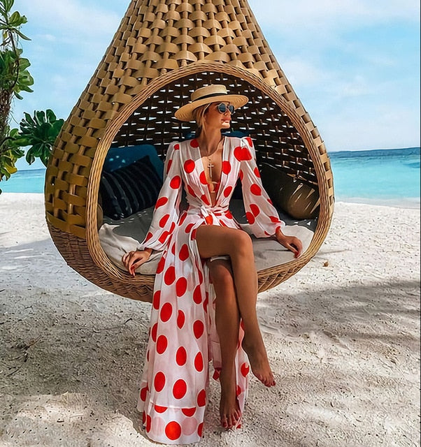 Long Sleeve Printed Bikini Cover Up & Beach Kimono Dress