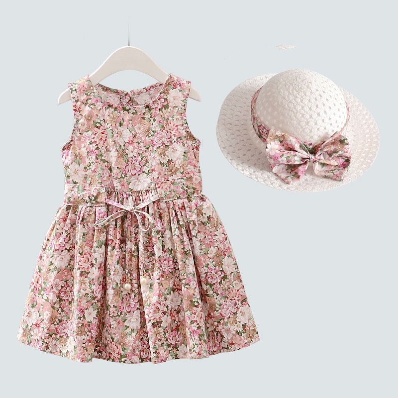 A-Line Sleeveless Cotton Floral Girl's Dress With Hat