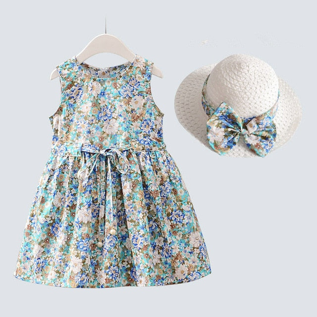 A-Line Sleeveless Cotton Floral Girl's Blue Dress With Hat