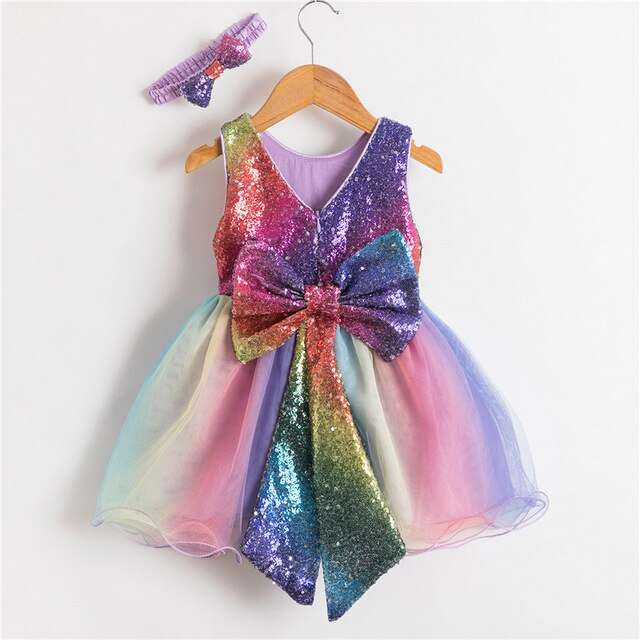 Patchwork Sequined Bowknot Rainbow Girls Dress