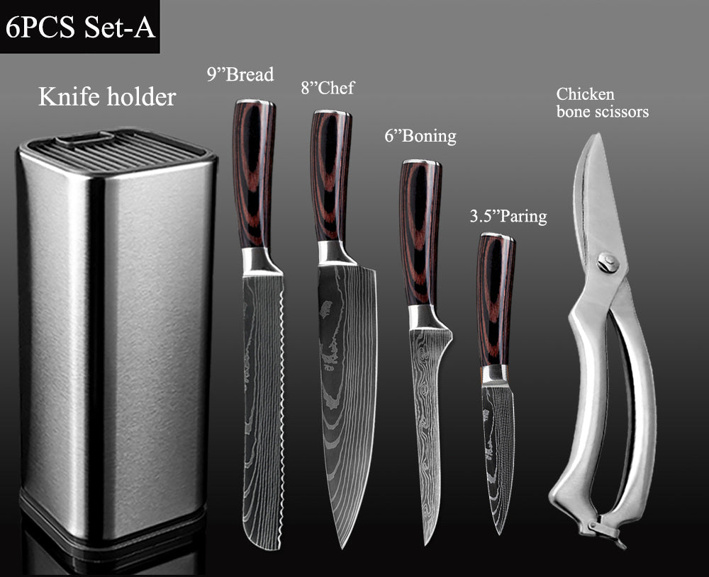 Stainless Steel Santoku Chef Knife Set With Holder