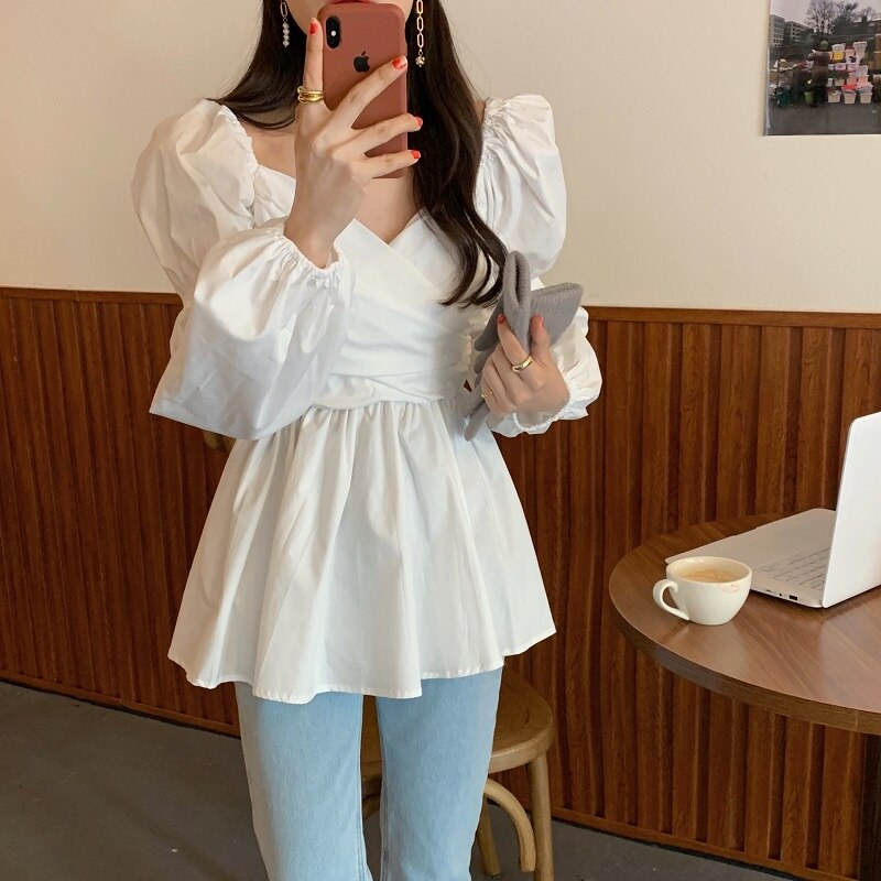 Puff Sleeves V-Neck Cross Gentle Pleated Women's Loose Blouse
