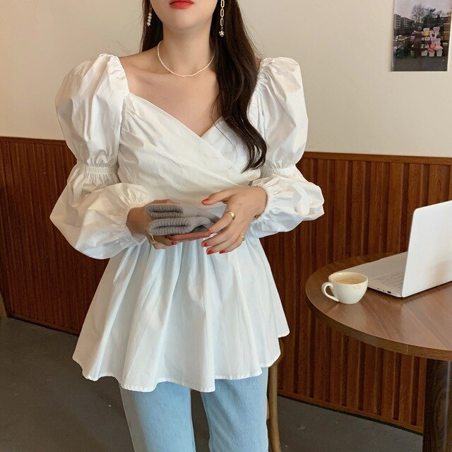Puff Sleeves V-Neck Cross Gentle Pleated Women's Loose White Blouse