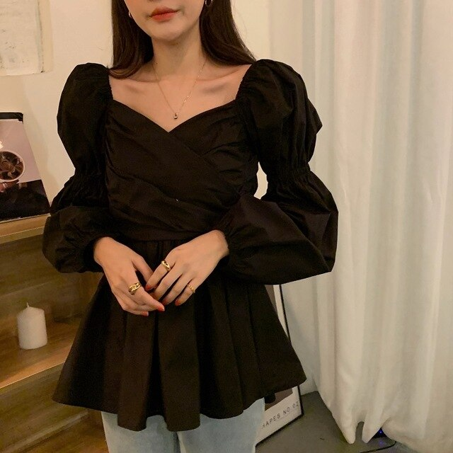 Puff Sleeves V-Neck Cross Gentle Pleated Women's Loose Black Blouse