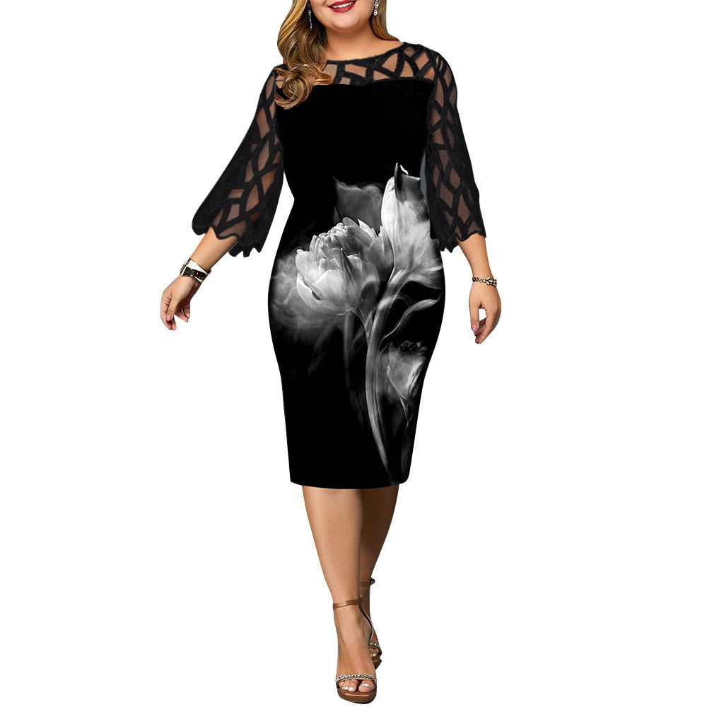 Plus Size Printed Mesh Midi Black Party Dress