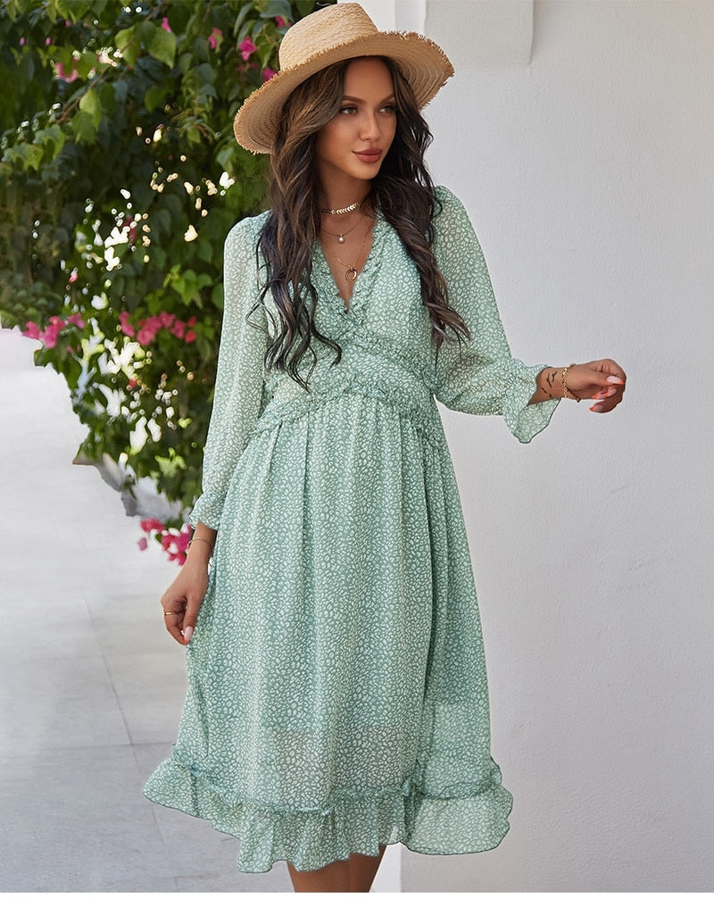 High Waist V-Neck Butterfly Sleeve Chiffon Dress