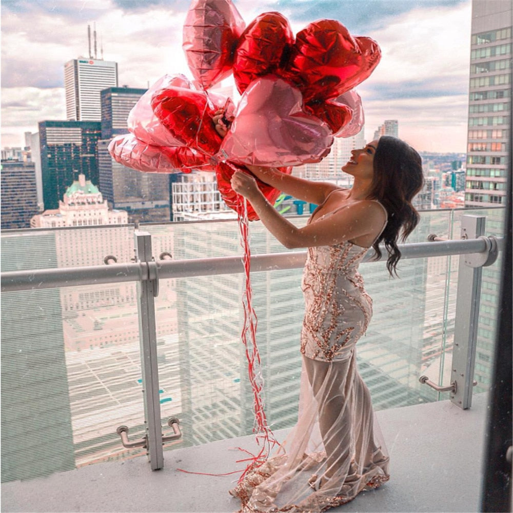 18inch Rose Gold Red Pink Love Heart Foil Helium Balloons