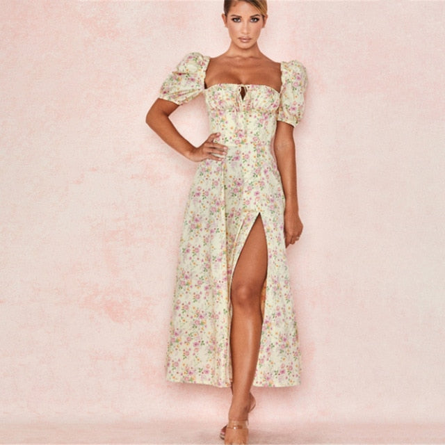 Square Collar Floral Puff Sleeve High Slit Midi Dress