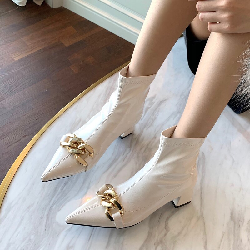 Patchwork Pointed Toe High Heels Women's Ankle Boots