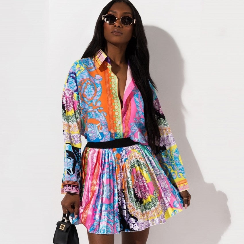 Floral Print Long Sleeve Shirt & Elastic Waist Mini Skirts