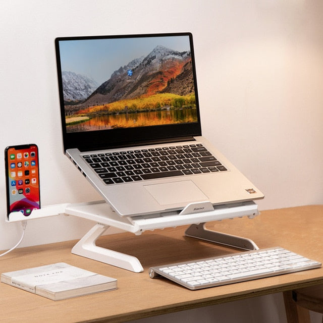 Portable Foldable Adjustable White Laptop Stand With Phone Holder