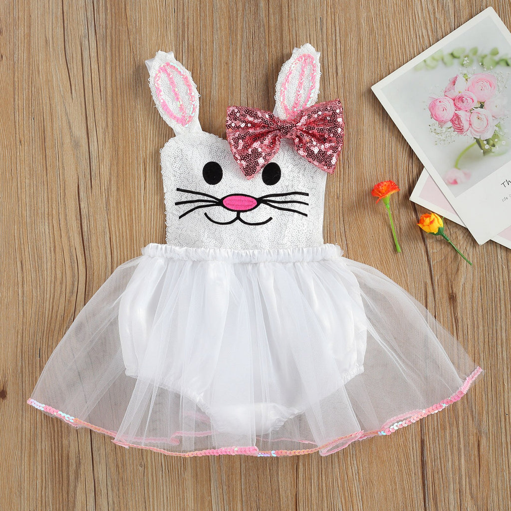 Lovely Rabbit Sequin Bow Lace Tutu Baby Girls Romper Dress