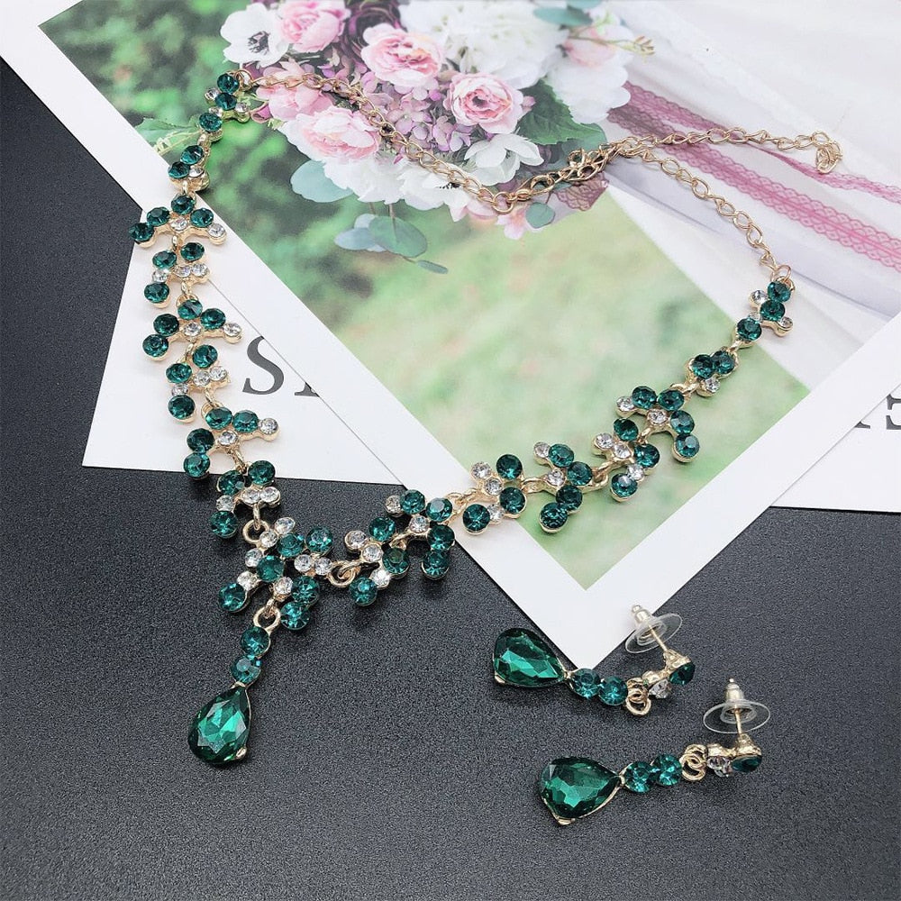 Trendy Crystal Rhinestone Women's Long Necklace & Earrings Set