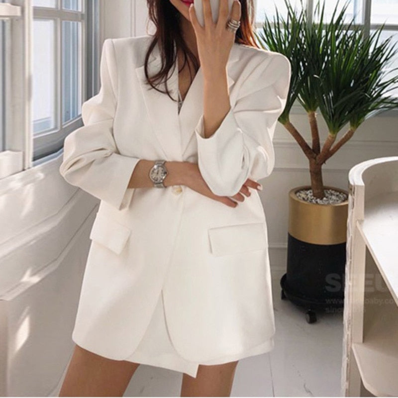 Single Button Loose Solid Color Thin Women's Suit With Shorts