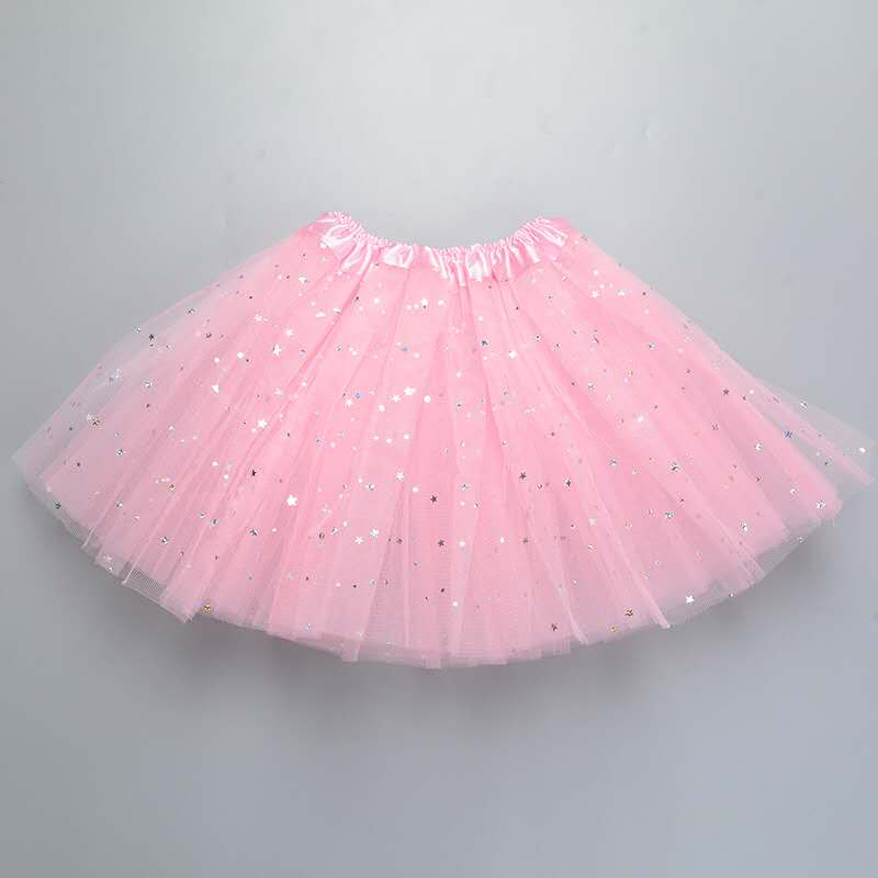 Fluffy 3 Layers Tulle Sequined Pink Tutu Skirt For Girls