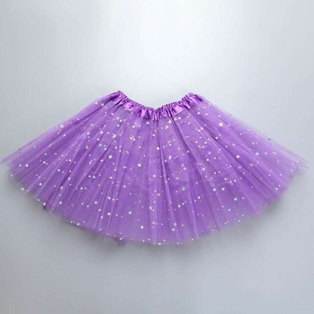 Fluffy 3 Layers Tulle Sequined Tutu Skirt For Girls