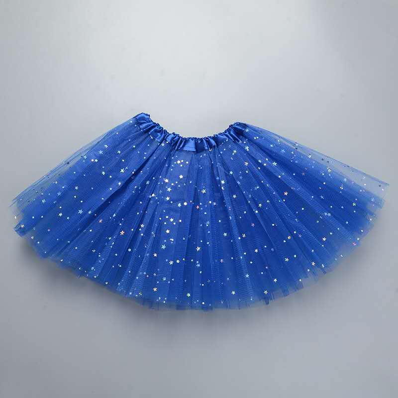 Fluffy 3 Layers Tulle Sequined Blue Tutu Skirt For Girls