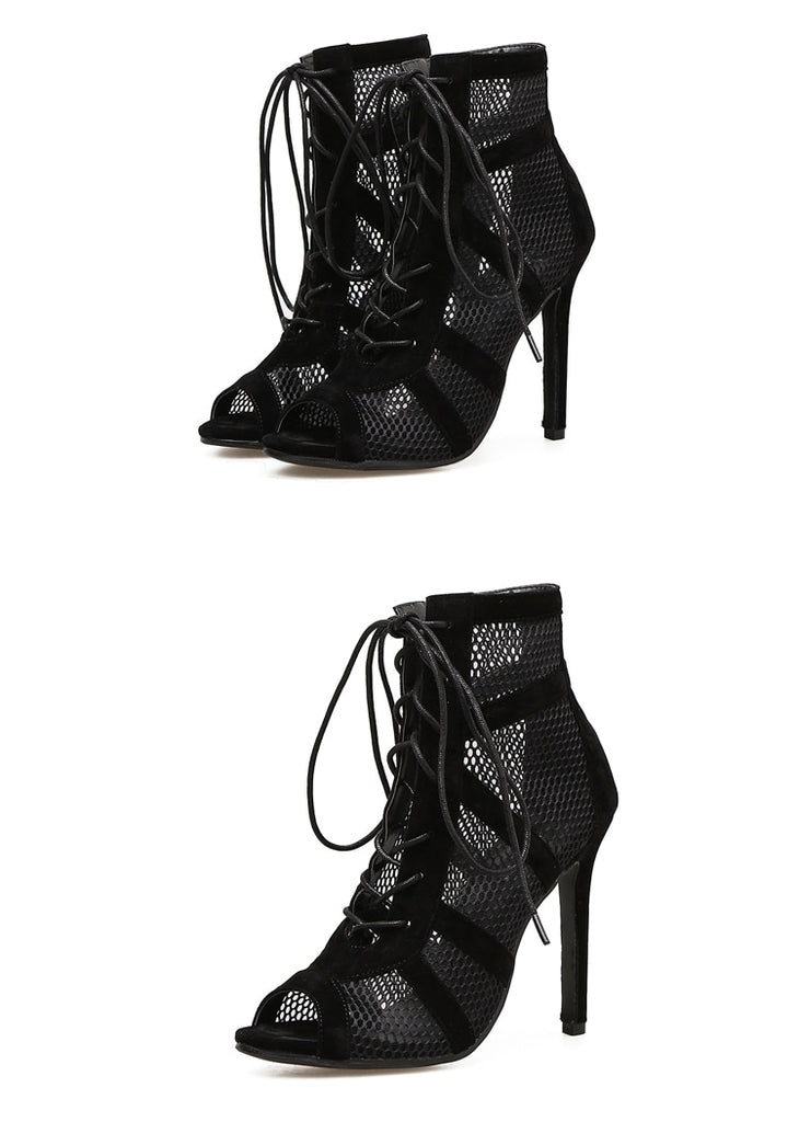 Pointed Toe High Heels Black Mesh Women's Ankle Boots
