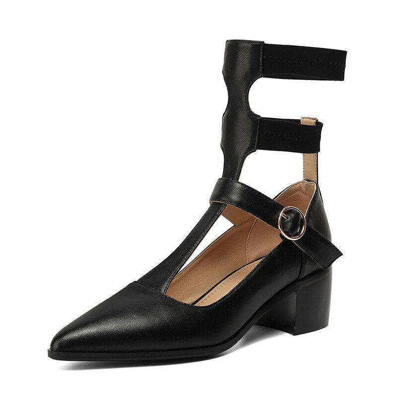 Roman Style Hollow Out Genuine Leather Shallow Women's Pumps