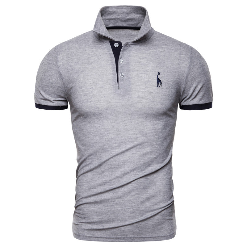 Short Sleeve Embroidery Giraffe Slim Fit Men's Polo Shirt