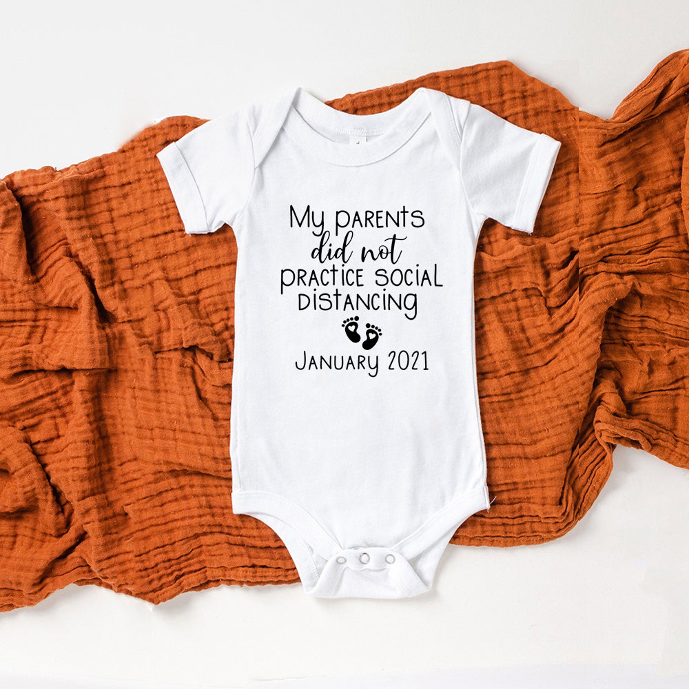 Funny Baby Announcement: Social Distancing Baby Romper