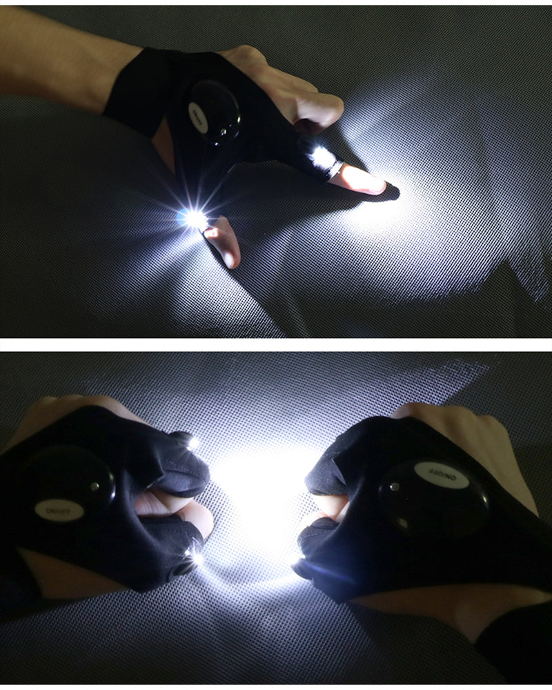 Practical Waterproof LED Flashlight Fingerless Fishing Gloves