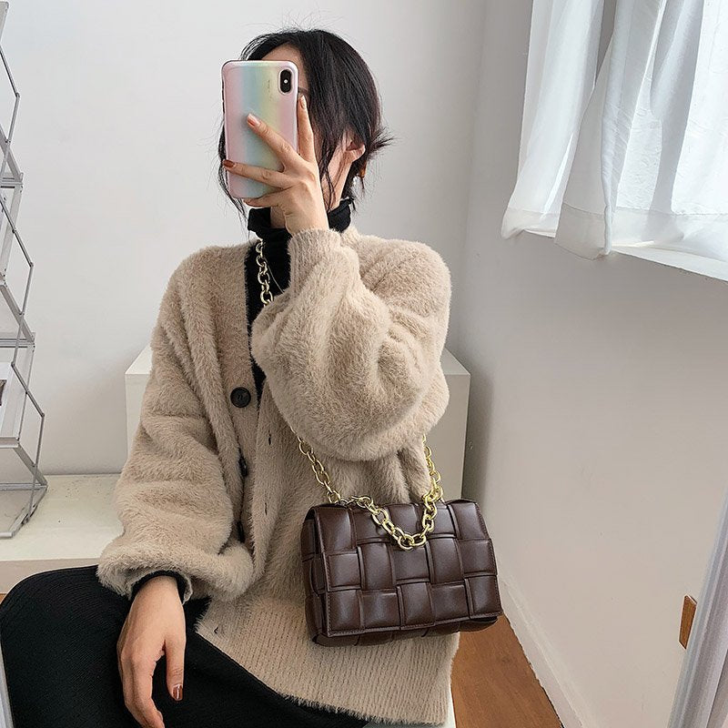 Soft Leather Thick Chain Weave Flap Bags For Women