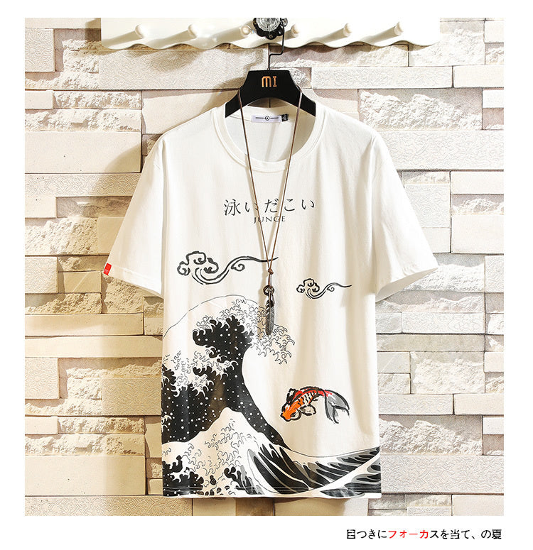 Funny O-neck Anime Print Cotton Men T-Shirt