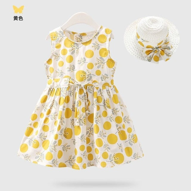A-Line Sleeveless Cotton Floral Girl's Yellow Dress With Hat