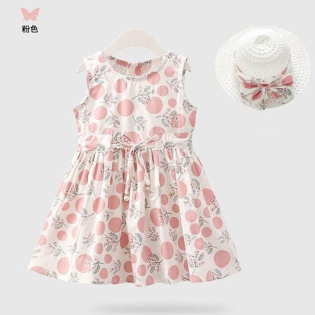 A-Line Sleeveless Cotton Floral Girl's Pink Dress With Hat