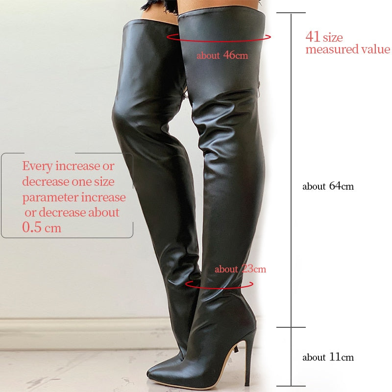 Over The Knee High Heels Leather Black Long Boots For Women