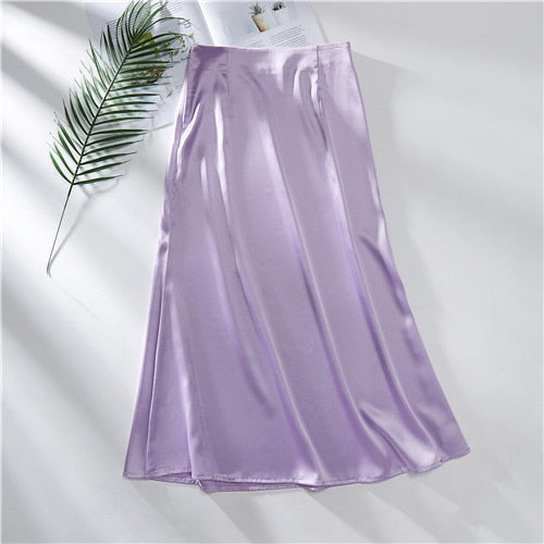 Korean Style High Waisted A-Line Silk Satin Women's Skirt
