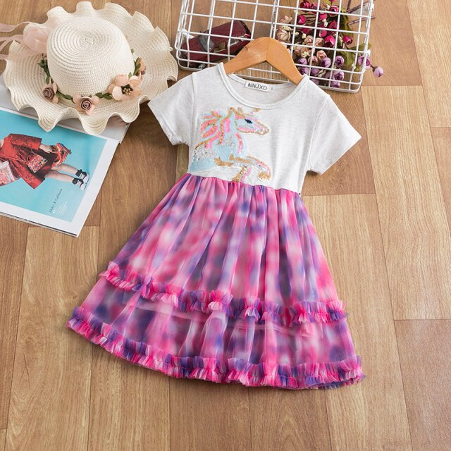 Short Sleeve Unicorn Cartoon Sequined Girls Dress