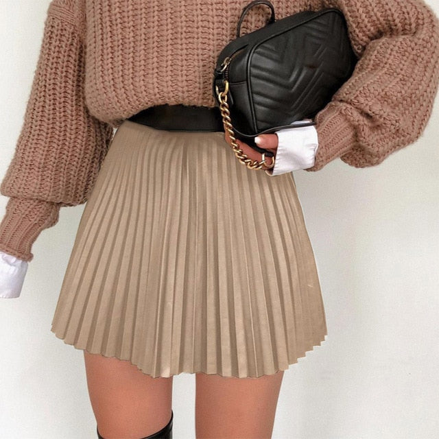 High Waist Pleated Faux Leather Women's Mini Skirt